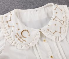 477d0bb401425b Lolita Moon Constellation Embroidery Peter Pan Collar Blouse Shirt Short  Sleeve  Unbranded  Blouse  Casual