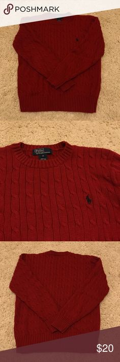 Red Polo by Ralph Lauren sweater Perfect condition! No holes or stains  Perfectly warm red sweater Ribbed collar, waist, and cuffs 100% cotton Machine wash Polo by Ralph Lauren Shirts & Tops Sweaters