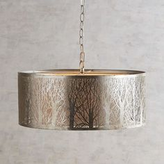 Etched Birches Silver Pendant Light.  Nothing sugg…