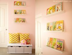 Vintage books displayed using @IKEA USA picture ledges - such a sweet nursery touch!