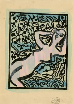 "Shiko Munakata (Japanese, 1903-1975).  ""Female Nude in Garden I"". Woodcut with watercolor handcoloring. 1934."