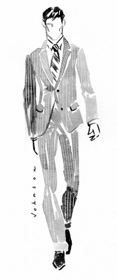 love a man in a pin stripe suit.... #FashionIllustration