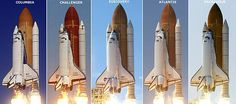 the five shuttles used in the space shuttle program, the last used being the atlantis, and the challenger and columbia were both destroyed