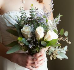 How would you feel about using limonium instead of lavender? It is purple with touches of white. See in this bouquet.