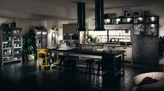 Freedom to interpret! For Scavolini, the designers of the Diesel Social Kitchen have created a vast assortment of compositional features that can merge to generate an infinity of original, unique rooms.
