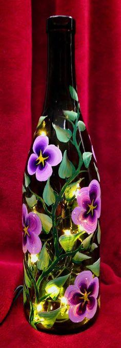 Purple Columbine Hand Painted on Wine Bottle by LuminationCreation, $38.00