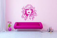 Beautiful Woman With Wavy Hair Removable Wall Art by Signs4Half, $55.00