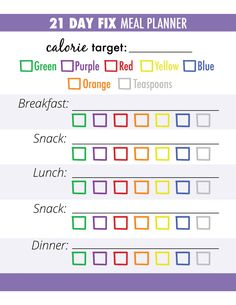 21 Day Fix Meal Planner / Grocery List