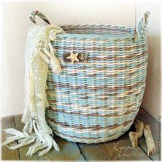 """Купить Большая корзина """"Seashell"""" - большая плетеная корзина, бирюзовая, мятная, голубая, большой короб"""