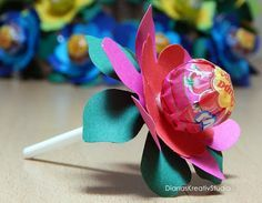 DianasKreativStudio Lutscher als Blume süßes Mitbringsel stampin up Stanze Punch Art Goodies Geburtstag