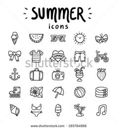 Set of 25 vector outlined summer icons - stock vector