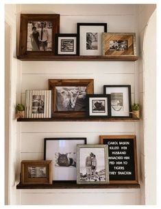 Gallery Wall Shelves, Picture Shelves, Picture Walls, Shelves With Pictures, Wall Decor With Pictures, Rustic Gallery Wall, Picture Ledge Shelf, Kitchen Gallery Wall, Photo Ledge
