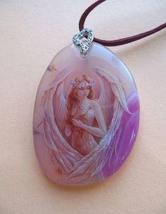 """Кулон""""Ангел"""" - камень,роспись,миниатюра,подарок,камень натуральный,масло"""