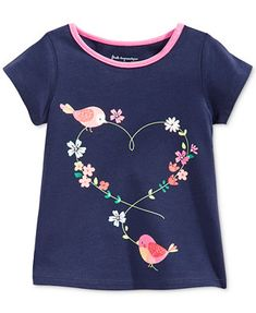 First Impressions Baby Girls' Bird Heart Tee