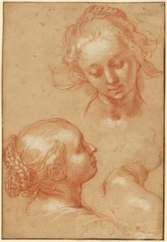Three Studies of Women (recto); Four Studies of Hands and a Counterproof of a Kneeling Young Man (verso); Abraham Bloemaert (Dutch, 1564 - Red chalk heightened with white gouache; Anatomy Sketches, Anatomy Art, Art Sketches, Art Drawings, Zentangle Drawings, Trois Crayons, Utrecht, White Gouache, Art Postal