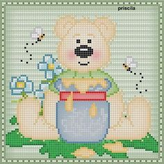 Cross Stitch Embroidery, Cross Stitch Patterns, Cross Stitch For Kids, Animal Crackers, Plastic Canvas, Teddy Bear, Cute, Crafts, Disney