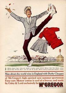 1960 McGregor Vintage Fashion Men Meteor Sport Coat-Slacks-Shirts PRINT AD
