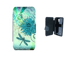 Teal floral dragonfly Samsung flip wallet faux leather phone case, for Galaxy s3, s3 mini, s4, s4 mini, s5, s5 mini, Note 3, Note 4 - F57