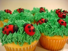 Cute picnic cupcakes @stephiehuston11  what do you think? Maybe instead of 2 ladybugs just one?