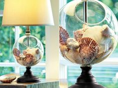 Collector Lamp with a bowl design that lets you easily display anything you want.... shells, Christmas ornaments, and much more! Featured on Beach Bliss Living: http://beachblissliving.com/beach-lamps-and-pendant-lights/