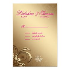 Indian RSVP Wedding Reply Card Damask Pink Gold Personalized Invites