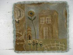 Prim Punch Needle Folk Art ~1820 SALTBOX~ house bird sunflower