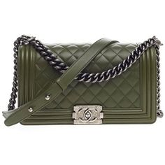 Pre-Owned Chanel Boy Flap Quilted Lambskin Old Medium (78,445 MXN) ❤ liked on Polyvore featuring bags, handbags, green, colorful handbags, chain strap purse, preowned handbags, chanel purse and chanel