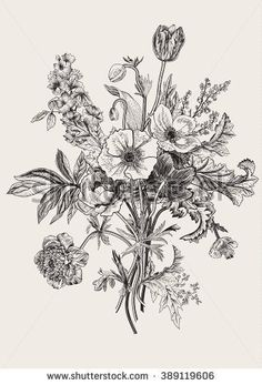 Victorian bouquet. Spring Flowers. Poppy, anemones, tulips, delphinium. Vintage botanical illustration. Vector design element. Black and white. Engraving