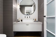 ensuite or bathroom idea, panelling - Metricon's Southampton - Bayville Bathroom Styling, Bathroom Ideas, Bathroom Inspiration, New Home Wishes, Hamptons Style Homes, Timber Walls, Stone Panels, Modern Bathroom Design, Interior Design Inspiration