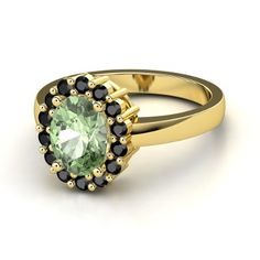 Oval Iolite 14K Yellow Gold Ring with White Sapphire - lay_down