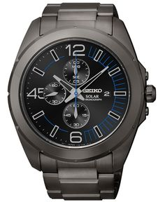 Seiko Men's Chronograph Solar Black Ion-Finished Stainless Steel Bracelet Watch 45mm SSC203