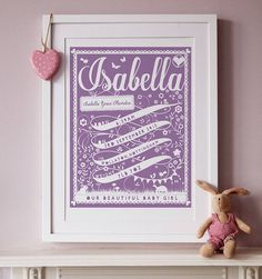personalised ribbon new baby print by pepper print shop | notonthehighstreet.com