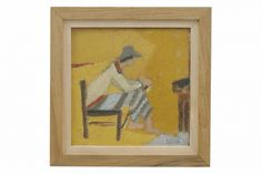 Oil painting of seated woman by Henri Seigle (1907-1995), from France,  circa 1980