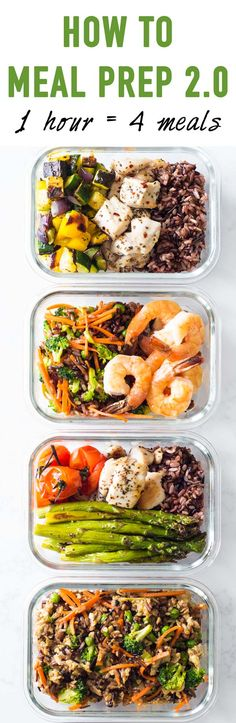 Meal prepping is the secret to a healthy lifestyle and here is a meal prep idea for 4 different meals all made in one go. How to Meal Prep so to speak. Healthy Eating Recipes, Real Food Recipes, Diet Recipes, Cooking Recipes, Chicken Recipes, Easy Meal Prep, Healthy Meal Prep, Healthy Cooking, Kitchens