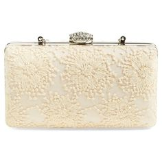 Jessica McClintock 'Noelle' Lace Clutch (1.231.865 VND) ❤ liked on Polyvore featuring bags, handbags, clutches, champagne, vintage clutches, jessica mcclintock, chain handle handbags, vintage floral handbags and vintage floral purse