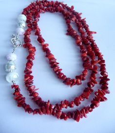 Red shell necklace by Beadannia on Etsy