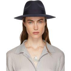 aaccb39e362 Lanvin Navy Felt Fedora Hat Rabbit fur felt fedora hat in navy. Tonal  grosgrain hat