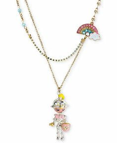 Betsey Johnson Antique Gold-Tone Multi-Color Rainbow and Knight Pendant Necklace