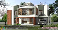 3375 sq-ft 4 bedroom box model contemporary home House Balcony Design, Single Floor House Design, House With Balcony, Kerala House Design, Double Story House, Two Story House Design, Simple House Design, Modern House Design, House Elevation