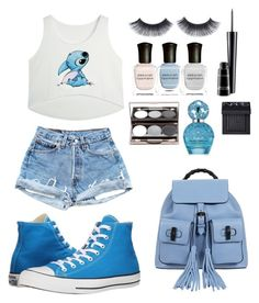 """""""Shades of Blue"""" by stylemeh on Polyvore featuring Converse, Gucci, Deborah Lippmann, MAC Cosmetics, Marc Jacobs and NARS Cosmetics"""