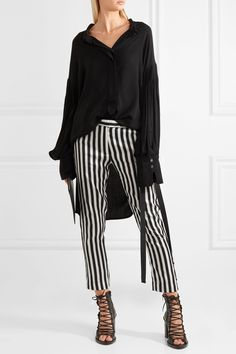 Ann Demeulemeester | Cropped striped satin-twill slim-leg pants | NET-A-PORTER.COM