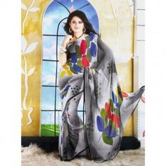 Gray shade with multicolored leafy print for $30