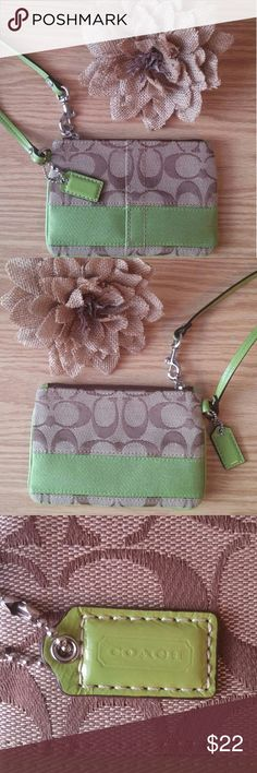 Coach Wristlet Lime green and tan classic C pattern wristlet, 6x4. Coach Bags Clutches & Wristlets
