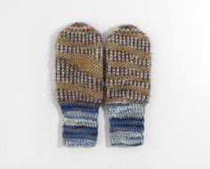 Hand Knitted Mittens - Blue, Brown and Beige