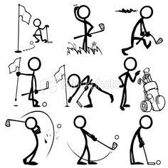 Stickfigure Playing Golf Royalty Free Stock Vector Art Illustration