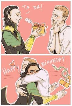 Loki gives Tom a birthday present.. this is perfect. Happy Birthday Tommy!!!! He's 33!!!!!