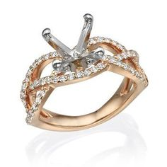14K Rose Gold Twisted Diamond Engagement Mounting