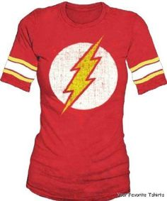 Licensed DC Comics The Flash Distressed Logo Hockey Raglan Women Juniors Shirt