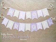 Ivory and Lavender Baby Shower Banner  Purple by JacqsCraftyCorner