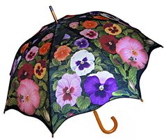 ** Beautiful Pansy Umbrella in Traditional Stick Style
